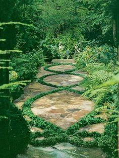 #COTM Green #charmingcharlie Grassy Pattern in Stone Path