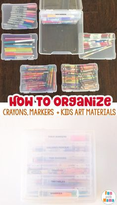 Art supply storage for toddler art supplies Are you looking for how to organize kids art supplies? Maybe specifically, how to organize crayons and markers? Then this simple solution is perfect for preschool and elementary students supplies via Toddler Art Supplies, Kids Craft Supplies, Art Supplies Storage, Kids Crafts, Kids Art Storage, Arts And Crafts Storage, Organize Art Supplies, Puzzle Storage, Organize Kids Rooms