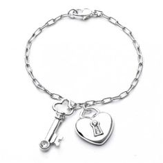 Valentines Day Gifts Bling Jewelry 925 Sterling Silver Cz Heart Lock And Key Charm Bracelet