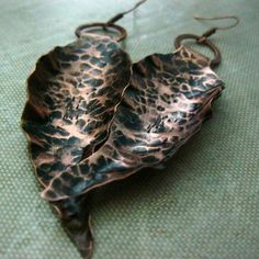 Copper Leaf Earrings Hand Forged Antiqued by RazielaDesigns, $22.00