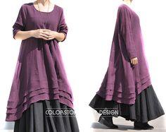 Maxi vestido de estilo étnico 3-colores lino irregular floja rollo teñido / Verano manga qz101 vestido largo