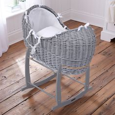 Clair De Lune Grey Wicker Moses Basket With Waffle Dressing. Inc Rocking Stand in Baby, Nursery Decoration & Furniture, Moses Baskets | eBay