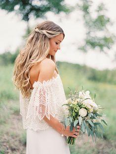 Bohemian bride in Stone Cold Fox dress. Backyard Austin Wedding by Taylor Lord