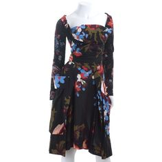 Pre-owned summer-dress ($485) ❤ liked on Polyvore featuring dresses, black, preowned dresses, summer day dresses, cotton jersey dress, sleeve jersey and flower summer dresses