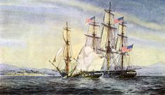 On 24 February during the War of 1812 U. Sloop of War Hornet, commanded by Captain James Lawrence, captured the British brig-rigged sloop of war HMS Peacock off the northern coast of South America. Sloop Of War, Uss Constitution, Ship Paintings, War Of 1812, Nautical Art, Window Sill, Sailing Ships, South America, 19th Century