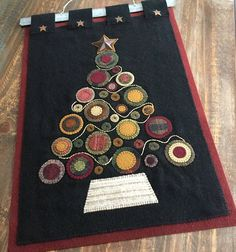 Wool Applique Holiday Tree Wall Hanging, Finished by PinesAndNeedlework on Etsy