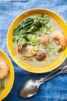 One to try on a cool day: warm, coconut-rich broth with a hint of green curry showcases summery new potatoes, sweet corn and shrimp in this summer chowder.