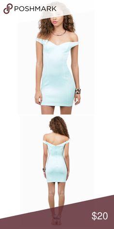 Mint green off the shoulder bodycon dress Size small mint green off he shoulder tobi bodycon dress. Worn once :) Tobi Dresses Mini