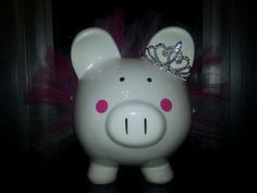 PRINCESS Jumbo Personalized Piggy Bank w/TUTU by ByJusteenCrafts, $30.00