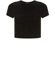 Black Ribbed Metallic Crop Top