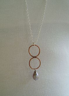 Dual Circles with Pearldrop Pendant by RoryRoo22 on Etsy, $42.00