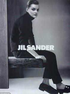 Loafers no socks. Guinevere van Seenus for Jil Sander   Fall 1996