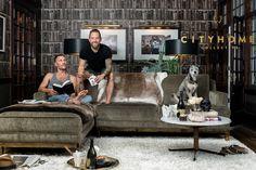 cityhomeCOLLECTIVE, Cody Derrick, bookshelf wallpaper, shag rug, sectional, masculine design, living room