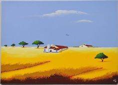 "Lote 631 - Carlos Lage, Pintura a óleo sobre tela, tema ""Alentejo"", com 50x70 cm - Price Estimate: €0 - $0 Portugal, Penthouse Suite, Beautiful Places, Auction, Posters, Paintings, Illustrations, Easy Acrylic Paintings, Painted Trees"