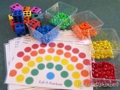 """Roll a Rainbow Game (with free printable!) Great station for """"color week"""""""