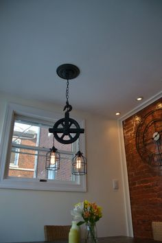 Re-purposed Barn Pulley Industrial Light [Swag Version/Plugs Into Outlet]