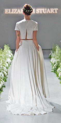 Fashion Rules for Wedding Dresses that Should not be Broken Bridal Separates Gowns And Breaking The Rules ❤ See more: www. Wedding Dress Shopping, Bridal Wedding Dresses, Wedding Dress Styles, Bridesmaid Dresses, Bridal Separates, Wedding Dress Separates, Two Piece Wedding Dress, Minimalist Wedding Dresses, Wedding Looks