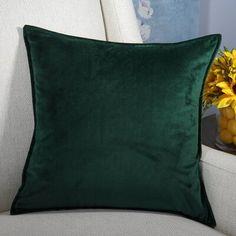 Ebern Designs Moorebank Velvet Throw Pillow Cover Color: Sea Green, Size: x Green Velvet Pillow, Green Throw Pillows, Grey Pillows, Velvet Cushions, Throw Pillow Covers, Green Pillow Covers, Fluffy Pillows, Best Pillows For Sleeping, Bedroom Green