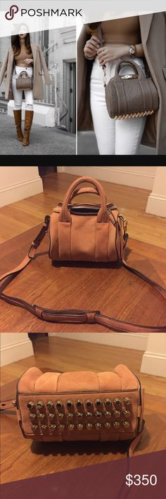 """NEW ALEXANDER WANG Mini Rockie Orange Suede Guaranteed Authentic. Org retail: $600. New, never worn. Orange leather suede feel. Rhodium hardware. Adjustable/detachable shoulder strap. 1 side zip pockets. Lined interior: 1 zip pocket & 1 slip pocket. 8""""L, 6""""H, 5.5""""W. 1st photo is for reference only. NO TRADES. Open to offers through the offer button ☺️ Alexander Wang Bags Crossbody Bags"""