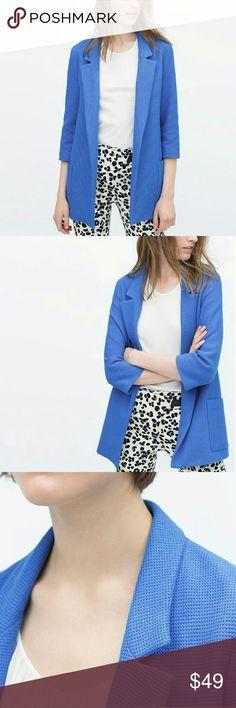Zara blue long blazer Zara blue long blazer no buttons, in perfect condition perfect for the summer  **27bin (storage note to self) Zara Jackets & Coats
