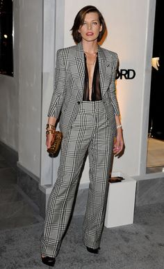 LE NOEUD PAPILLON: Milla Jovovich In A Tom Ford Suit - Source - Cutter & Tailor