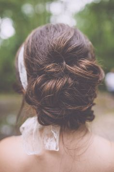 low updo with lace scarf