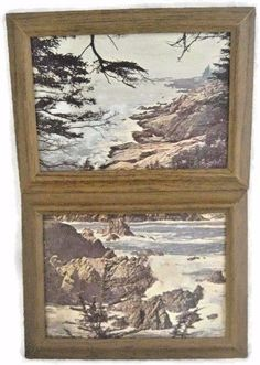 Wooden Beach Scenery Picture with Frame 9 1/4 X 7 Inches Set of 2 Rocks Trees #Unbranded #Novelty
