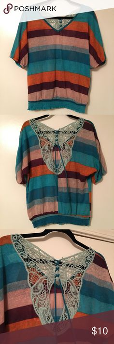 Beautiful Striped Top with butterfly back Beautiful striped top with beautiful crochet butterfly back. Colors Are perfect for fall! Spoiled Tops
