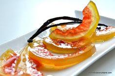 Dulceata din coaja de pepene verde - rosu - lubenita. Coji confiate de pepene. Dulceata de coji de pepene cu vanilie este foarte gustoasa si foarte utila in