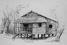 Bahay Kubo (My Nipa Hut). pen and ink. Pen Sketch, Drawing Sketches, Art Drawings, Bahay Kubo Design Philippines, Restaurant Mexicano, Philippine Architecture, Perspective Art, Perspective Pictures, Arte Alien