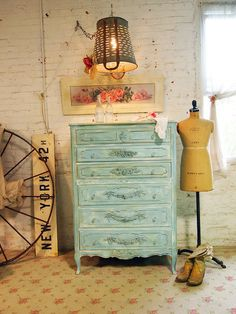 shabby chic dressers | Painted Cottage Chic Shabby Aqua Dresser French Dresser CH366