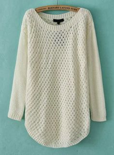 White Long Sleeve Hollow Knit Pullover Sweater.