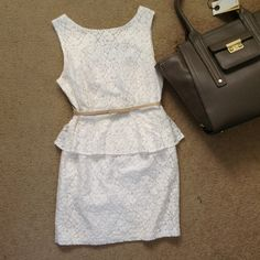 Forever 21 Lace peplum dress with ribbon belt Super classic design and fit. Comes with tan ribbon belt with ability to adjust. Zipper in back. NOTE: pictures show a tiny stain in the front peplum area. And a small tear on right side of dress, can't really be seen bc of white under lining and design. no trades or paypal  *excluded from sale* Forever 21 Dresses