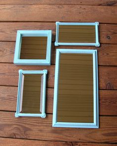 Shabby Chic Mirrors Aqua Turquoise Set of Four by LittlestSister, $35.00