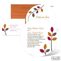 Rustic Leaves Wedding Invitation http://invitations.michaels.com/Jean-M-Invitations/YellowOrange/2988-MK42Q5X-Rustic-Leaves-Wedding-Invitation.pro #FallWedding