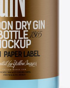 Clear Glass Gin Bottle Mockup (Close-Up)