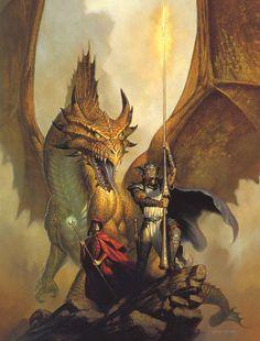 Sorrel's Dragons: a warrior and his human rider.