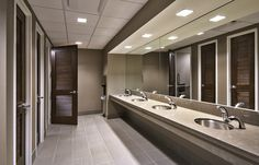 Cubesmart's Core Building Restrooms. Sleek finishes & Individual stalls.