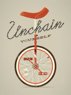 """Unchain Yourself"", a beautiful unicycle art print by DKNG Studios, created in honor of National Bike Month."