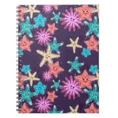 #Funny Starfish pattern in a deep-coloured style Notebook - #office #gifts #giftideas #business