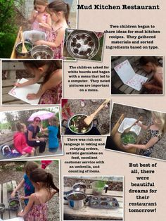 Mud Kitchen -with photos and writing outside-Tessa Heffernan Play Based Learning, Learning Through Play, Learning Centers, Early Learning, Preschool Activities, Reggio Emilia, Eylf Learning Outcomes, Learning Stories Examples, Reggio Documentation