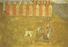 Domenico Gnoli, Giocatori di carte sulla spiaggia