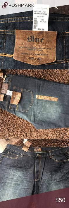 "Men's Blue Pronto Uomo Jeans ""Sits just below the waist comfortably fitted through seat and thigh"". 42x36. Modern fit, straight cut. NWT never worn. Purchased at Men'a Wearhouse. Men's Wearhouse Jeans Straight"