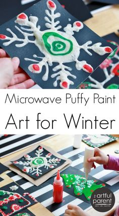 Microwave puffy paint art is so much fun for kids! Here's an easy tutorial showing how to do this art activity with kids using Christmas and winter themes.