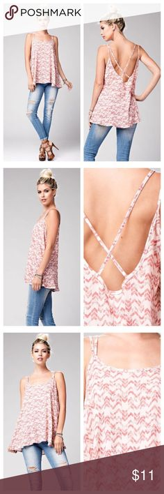 Double Strap Swing Patterned Tank Re*Posh. Purchased from another posher (@blovedboutique) but no longer needed in my wardrobe. Woven peach and pink patterned tank. Double spaghetti strap swing tank with spaghetti strap cross detailing on back. Comfortable loose fit. 100% rayon. Made in the USA. Tops Tank Tops