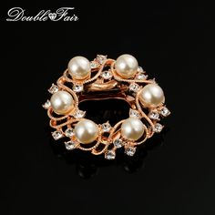 Imitation Pearl Beads Rose Gold Color Vintage Pins and Brooches Bouquet Jewelry For Women Gifts Crystal For Wedding DFX005 #Affiliate
