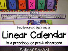 How to Make and Implement a Linear Calendar in a preschool, pre-k, or kindergarten classroom! Pocket of Preschool Kindergarten Calendar, Preschool Calendar, Preschool Classroom, Kindergarten Classroom, Classroom Ideas, Preschool Ideas, Classroom Organization, Preschool Procedures, Classroom Management