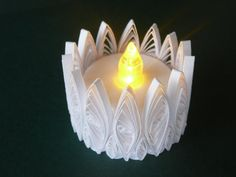 Paper Quilled Flickering Flameless Tea Light by Customcrafter500