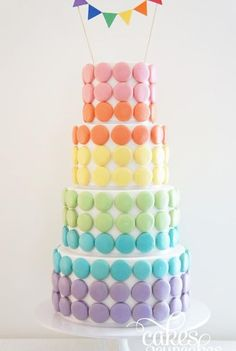 Colorful Macarons Tiered Cake