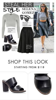 """Steal Her Style-Selena Gomez"" by kusja ❤ liked on Polyvore featuring Topshop, Christian Dior, Carvela Kurt Geiger, selenagomez, topshop, Stealherstyle and celebstyle"